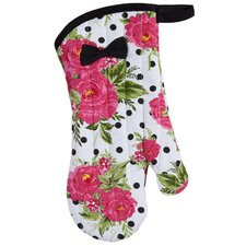 Dotted Parlor Floral Oven-Mitt with Bow