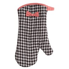 Brown and Cream Woven Houndstooth Oven-Mitt with Bow