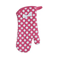 Pink and White Polka Dot Oven-Mitt with Bow