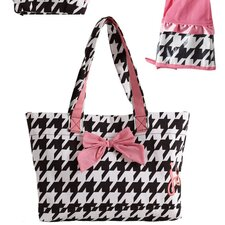 Giant Houndstooth Bow Tote Bag
