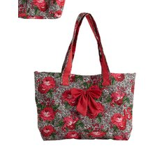 Leopard Floral Bow Tote Bag