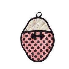 Pink and Black Polka Dot Bow Scalloped Pot Mitt