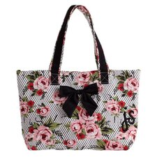Cottage Rose Lace Bow Tote Bag