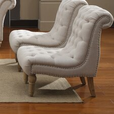 Hutton Nailhead Fabric Slipper Chair
