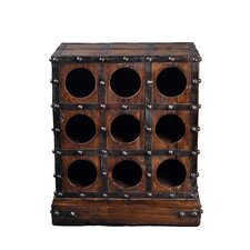 <strong>Antique Revival</strong> 9 Bottle Studded Wooden Wine Rack