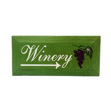 Distressed Wooden Panel with Winery Art