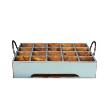 Distressed Rectangular Milk Crate with Iron Handles