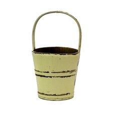 Vintage Water Bucket with Bamboo Handle