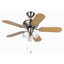 Medas Three Light Five Blade Ceiling Fan in Nickel Matte
