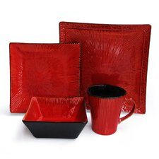 Crimson Flare 16 Piece Dinnerware Set