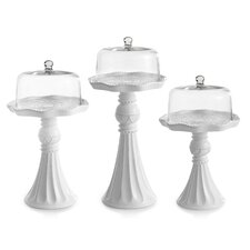 3 Piece Amie Domed Cake Plate Set
