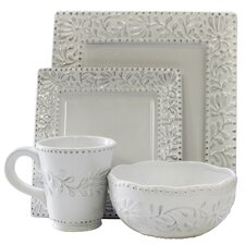 Bianca Leaf Square 16 Piece Dinnerware Set