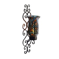 Mosaic Glass and Metal Wall Sconce