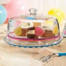 Delish Cupcake Pedestal Cake Plate with Dome Lid