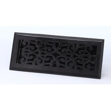 "2.25"" x 12"" Scroll Floor Register in Antique Black"