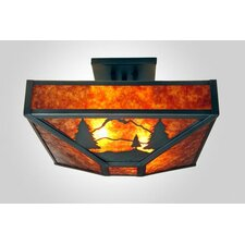 <strong>Steel Partners</strong> Timber Ridge 4 Light Post Drop Semi Flush Mount
