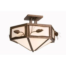 Ponderosa Pine Hexagon Drop Semi Flush Mount