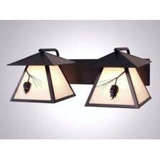 Ponderosa Pine Twin Prairie 2 Light Vanity Wall Sconce