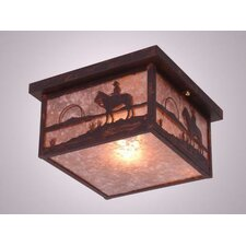 Cowboy Sunset Squaroka Flush Mount