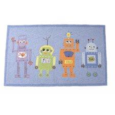 4 Robots Blue Area Rug