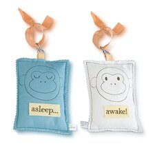 Monkey Asleep / Awake Door Hanger