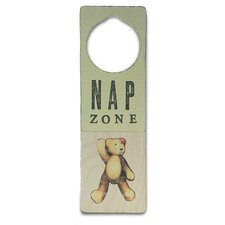 """Nap Zone"" Wooden Doorknob Sign in Distressed Yellow"