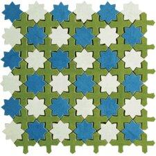 Aquarelle Random Sized Ceramic Wall Tile in Star Blue Mosaic