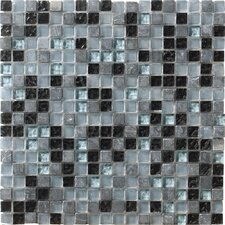 "Crystal Stone 12"" x 12"" Glass/Stone Mosaic in Marine"
