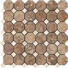"Campione Random Sized Octagon Mesh-Mounted 2"" x 2"" Porcelain Stoneware Glazed Mosaic in Andretti"