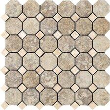 "Campione Random Sized Octagon Mesh-Mounted 2"" x 2"" Porcelain Stoneware Glazed Mosaic in Sampras"