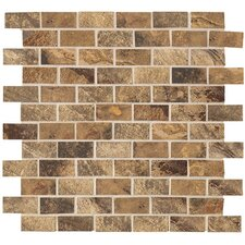 "Jade 2"" x 1"" Decorative Brick Mosaic in Chestnut"