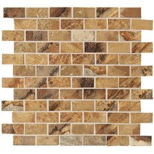 "Jade 2"" x 1"" Decorative Brick Mosaic in Ochre"