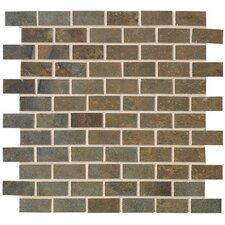 "Jade 2"" x 1"" Decorative Brick Mosaic in Sage"