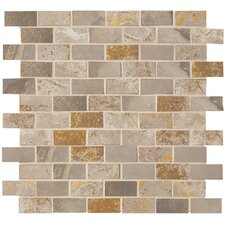 "Jade 1"" x 2"" Decorative Brick Mosaic in Taupe"
