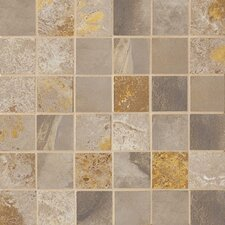 "Jade 2"" x 2"" Decorative Square Mosaic in Taupe"
