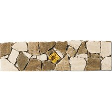 "Safari 12"" x 3"" Listelli Border / Corner Tile in Tumbled Marble with Glass Insert"