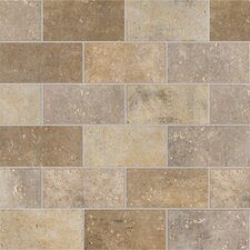 "Walnut Canyon 4"" x 2"" Decorative Brick Mosaic in Cream"