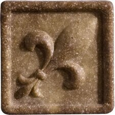 "Romancing the Stone 2"" x 2"" Compressed Stone Fleur de Lis Insert in Noce"