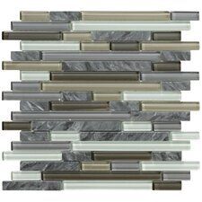 Crystal Stone II Random Sized Glass Frosted Mosaic in Pewter