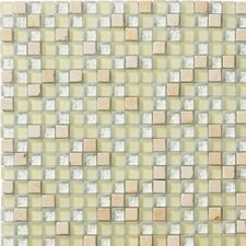 "Crystal Stone 12"" x 12"" Glass/Stone Mosaic in Ivory"