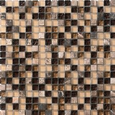 "<strong>Marazzi</strong> Crystal Stone 12"" x 12"" Glass/Stone Mosaic in Coffee"