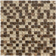 Crystal Stone II Glass Square Mosaic in Espresso