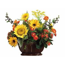 Sunflower / Ranunculus / Berry in Ceramic Container