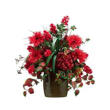 Hydrangea / Daisy / Berry in Ceramic Vase