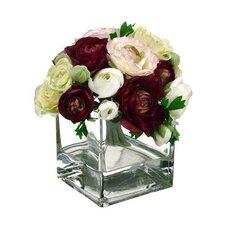 Ranunculus in Cube Glass Vase