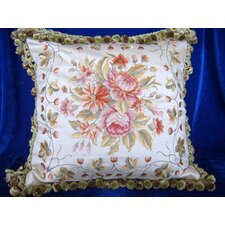 45cm Embroidered Cushion Cover with Floral Pattern