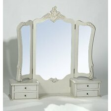 Provence Boudoir Furniture Dressing Table with Tri Mirror in Antique White