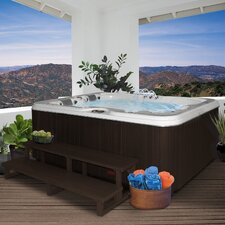 3-Person 34-Jet Lounger Spa with Backlit LED Waterfall