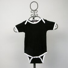 Infant Bodysuit in Black with White Trim