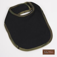 Bib in Black with Green Camouflage Trim